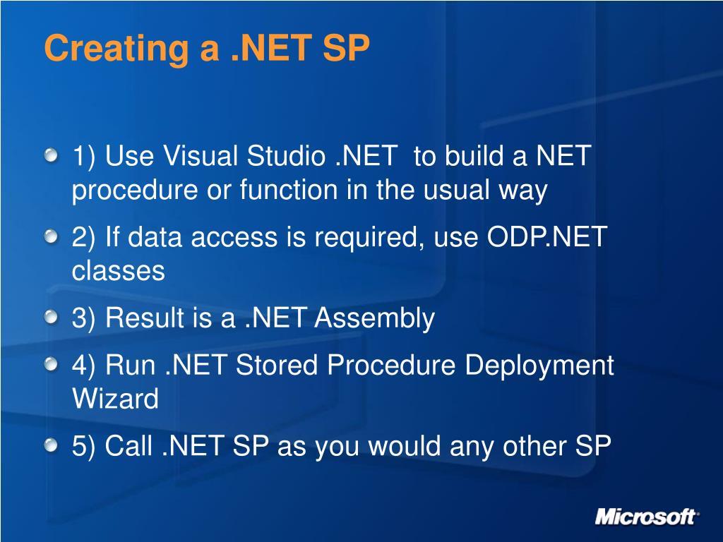 Creating a .NET SP