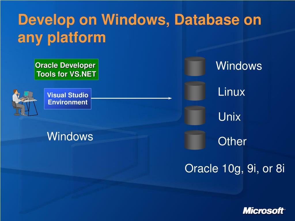 Develop on Windows, Database on any platform