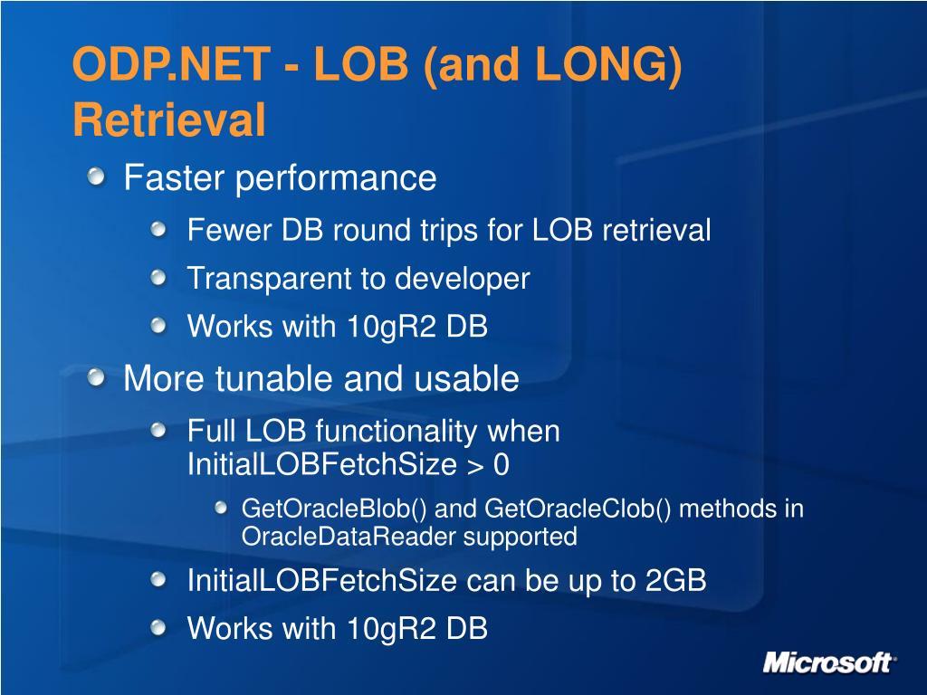 ODP.NET - LOB (and LONG) Retrieval