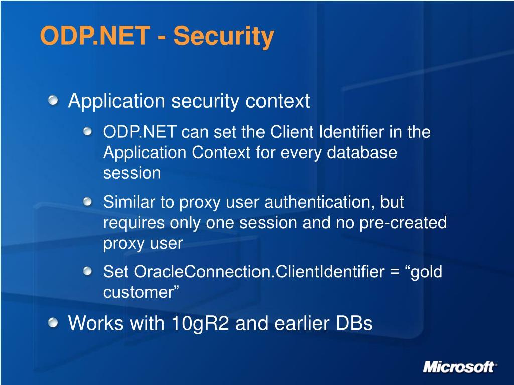ODP.NET - Security