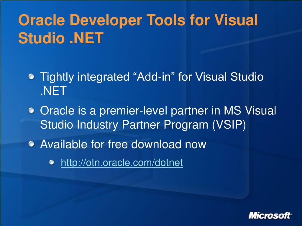 Oracle Developer Tools for Visual Studio .NET