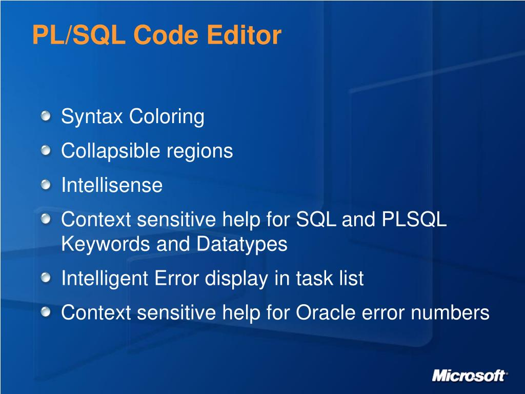 PL/SQL Code Editor