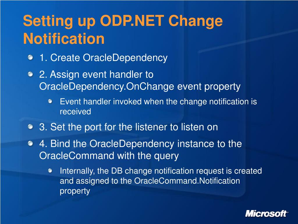 Setting up ODP.NET Change Notification