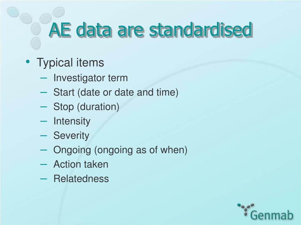 AE data are standardised