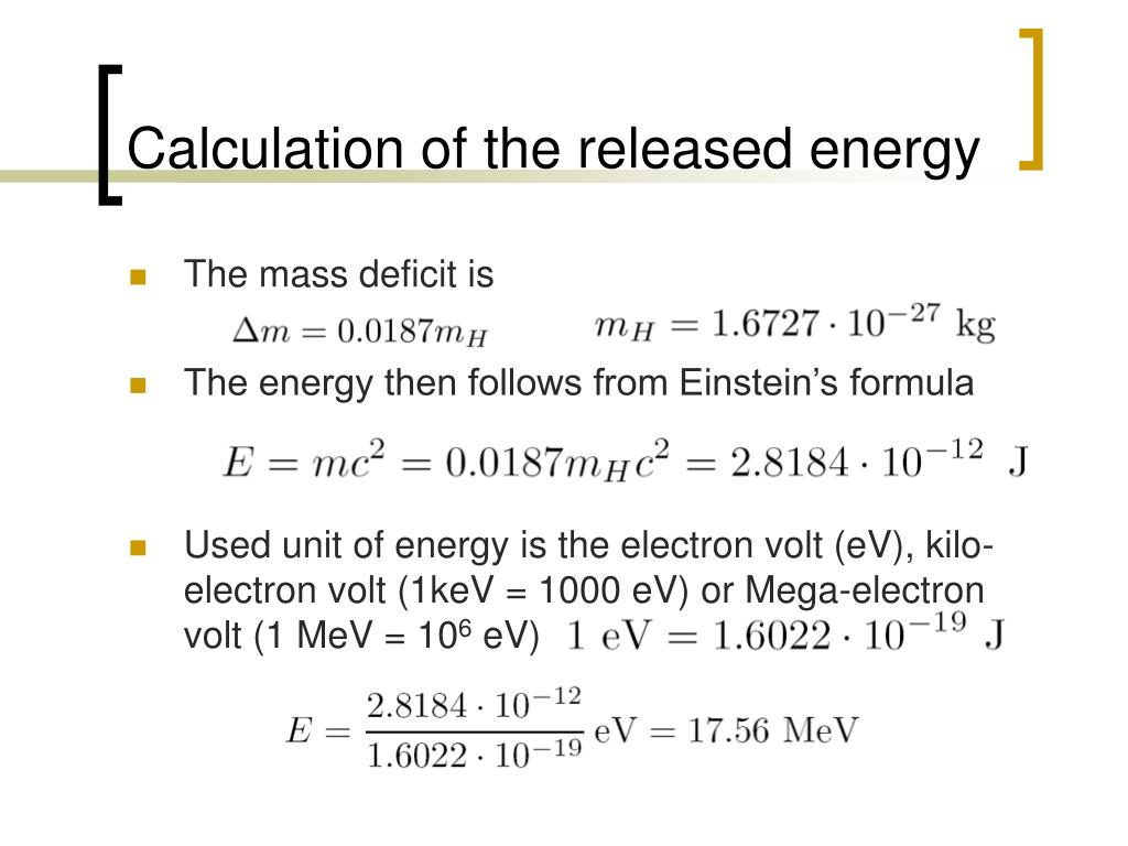 Calculation of the released energy