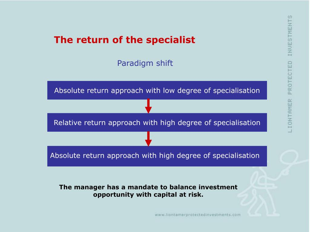 Absolute return approach with low degree of specialisation