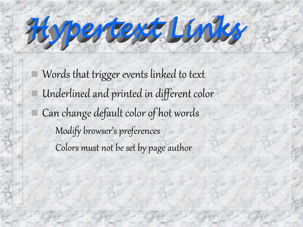 Hypertext Links
