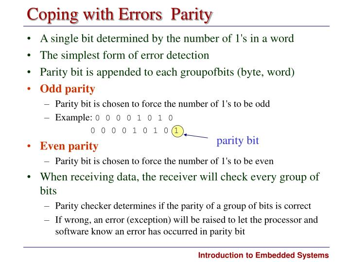 Coping with Errors  Parity