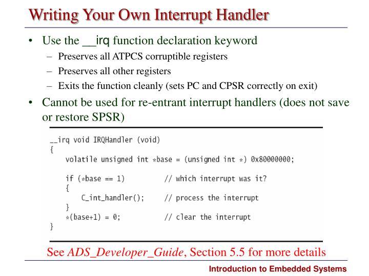 Writing Your Own Interrupt Handler