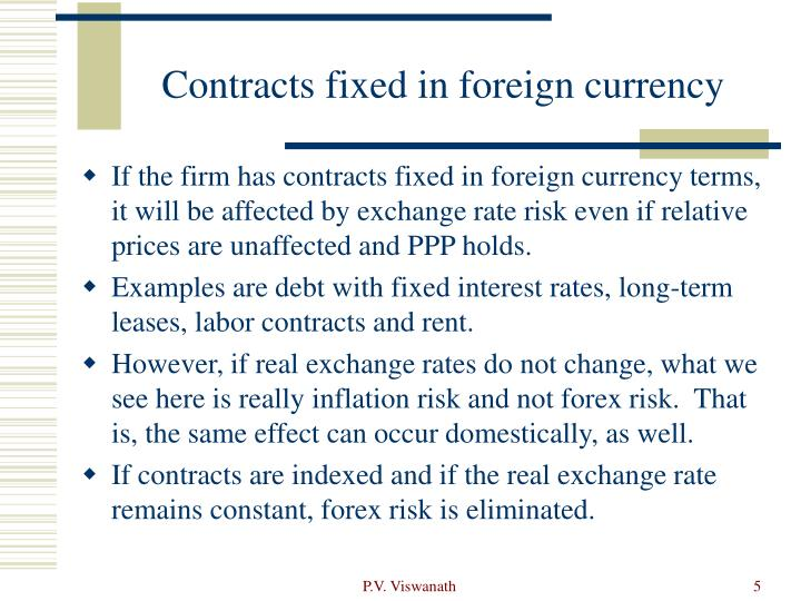 Contracts fixed in foreign currency