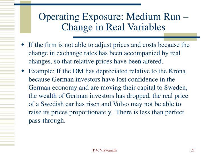 Operating Exposure: Medium Run – Change in Real Variables