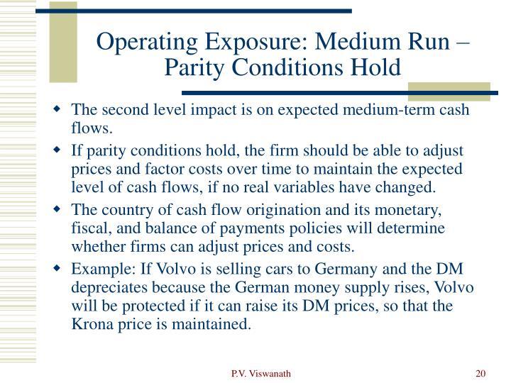 Operating Exposure: Medium Run –Parity Conditions Hold