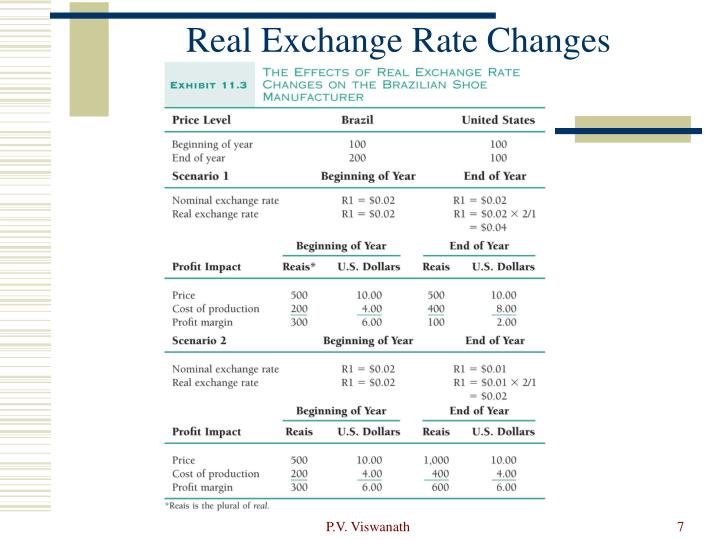 Real Exchange Rate Changes