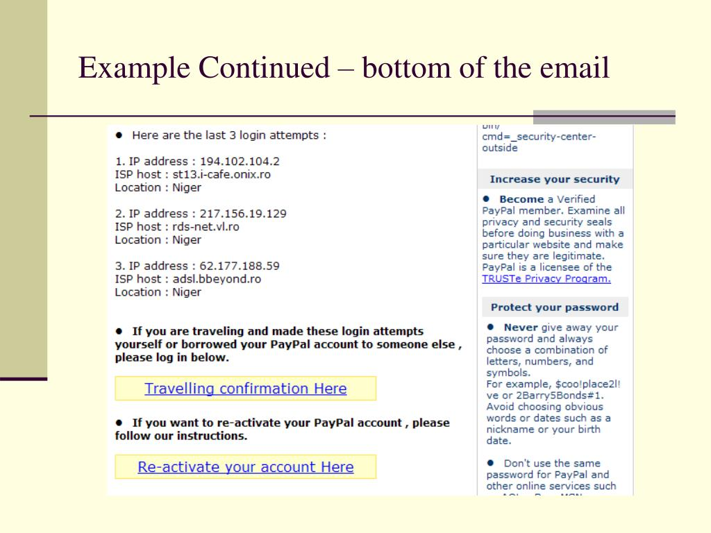 Example Continued – bottom of the email