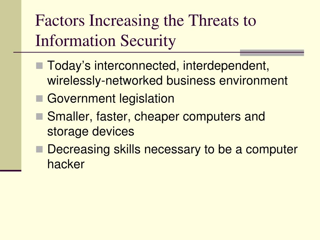 Factors Increasing the Threats to Information Security