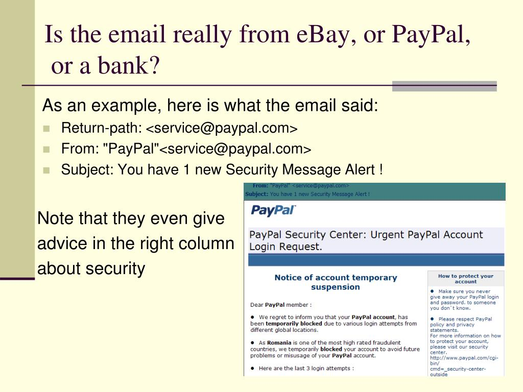 Is the email really from eBay, or PayPal,