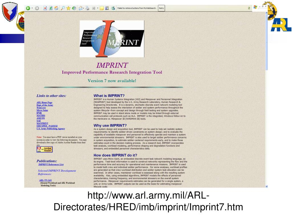 http://www.arl.army.mil/ARL-Directorates/HRED/imb/imprint/Imprint7.htm