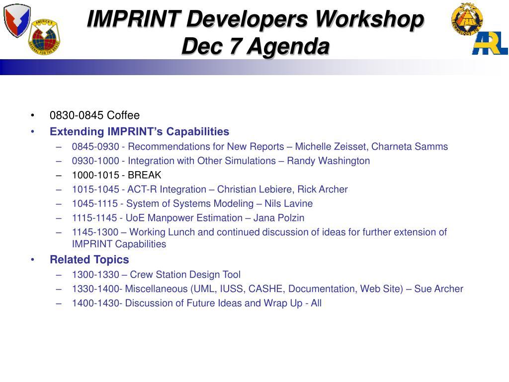 IMPRINT Developers Workshop