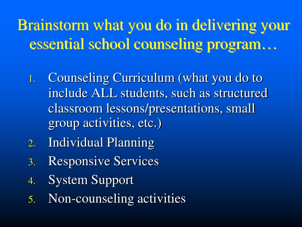Brainstorm what you do in delivering your essential school counseling program