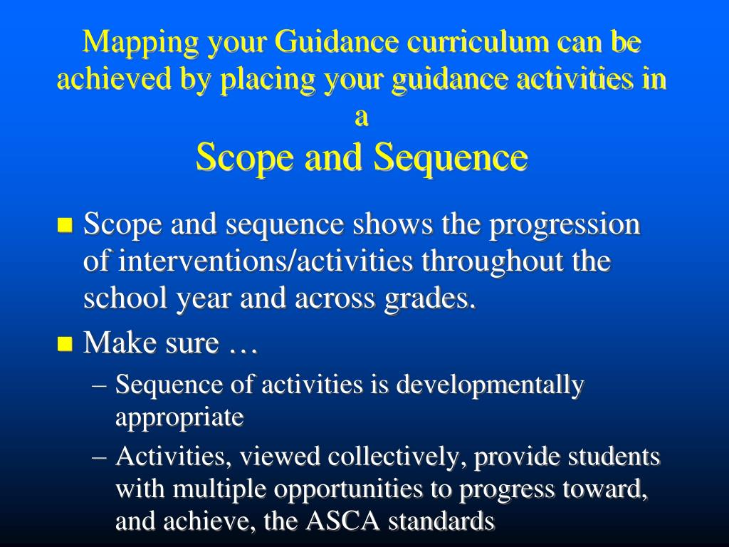 Mapping your Guidance curriculum can be achieved by placing your guidance activities in a