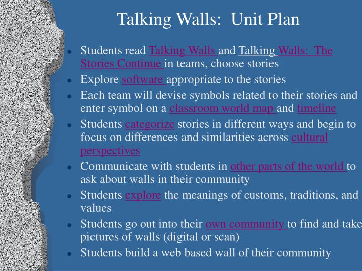 Talking walls unit plan