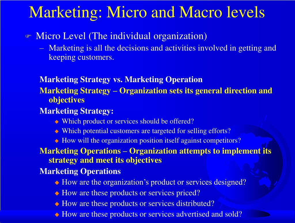 Marketing: Micro and Macro levels