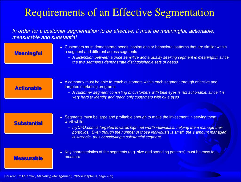 Requirements of an Effective Segmentation