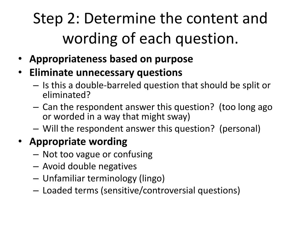 Step 2: Determine the content and