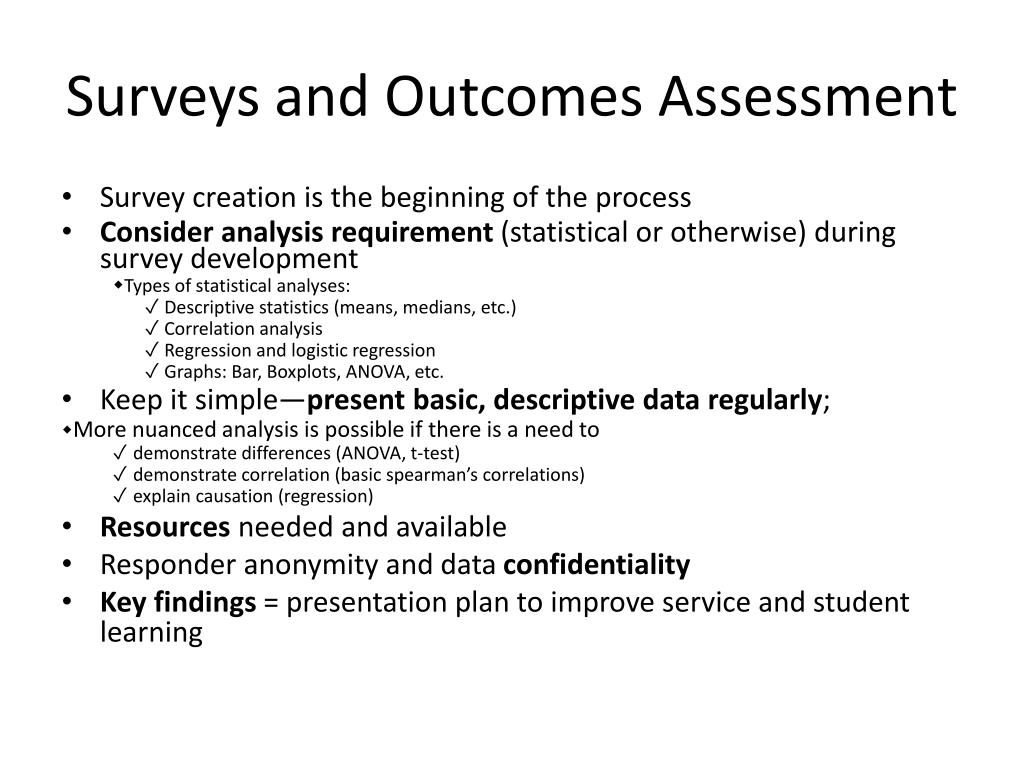 Surveys and Outcomes Assessment