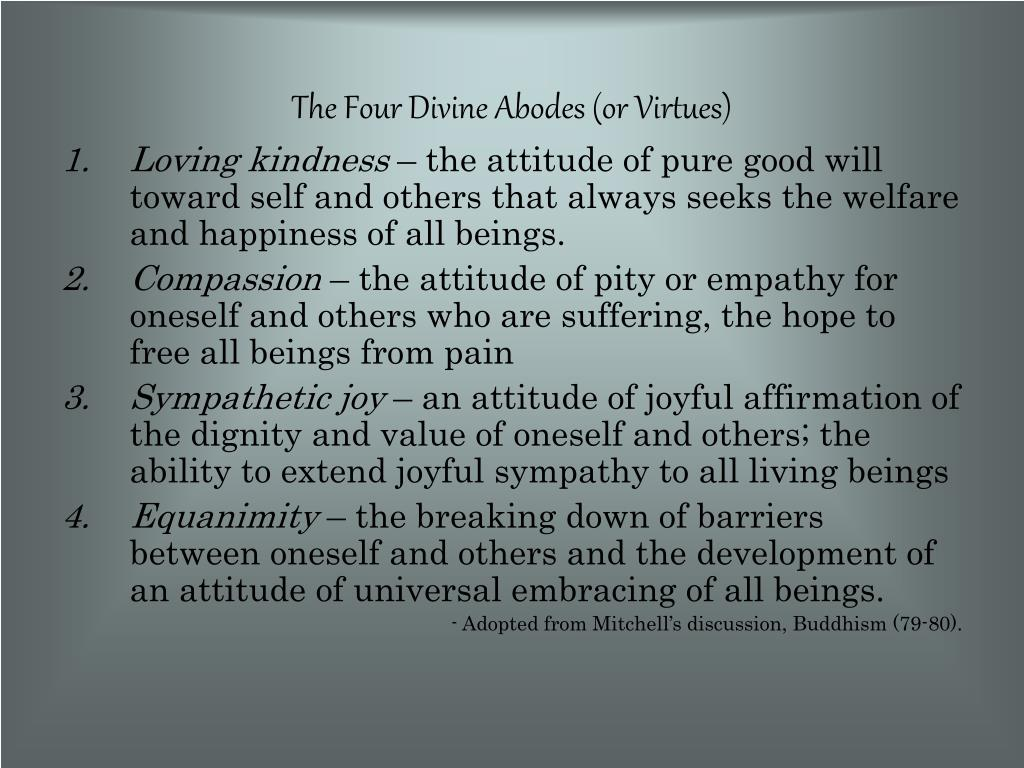 The Four Divine Abodes (or Virtues)