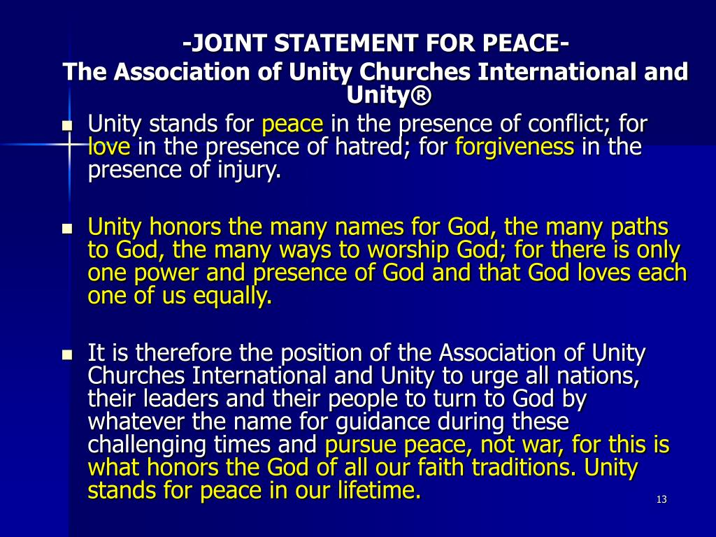 -JOINT STATEMENT FOR PEACE-