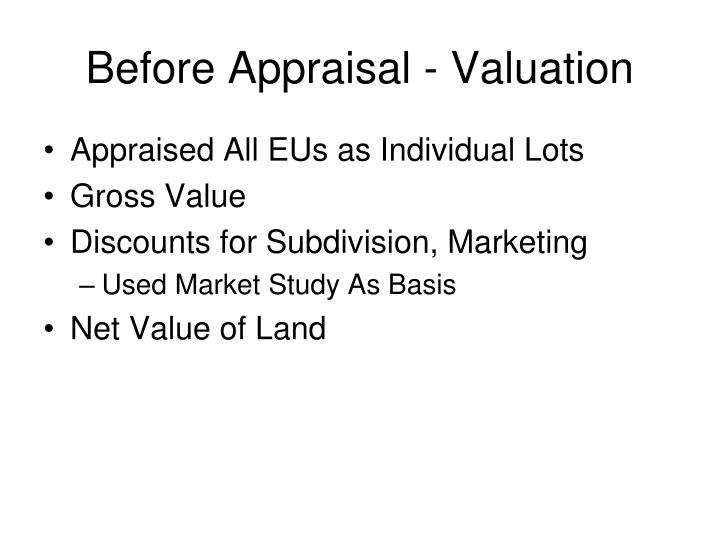 Before Appraisal - Valuation