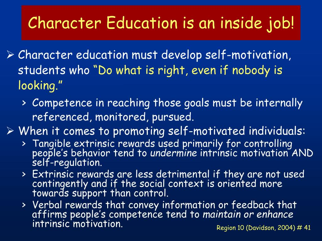 Character Education is an inside job!