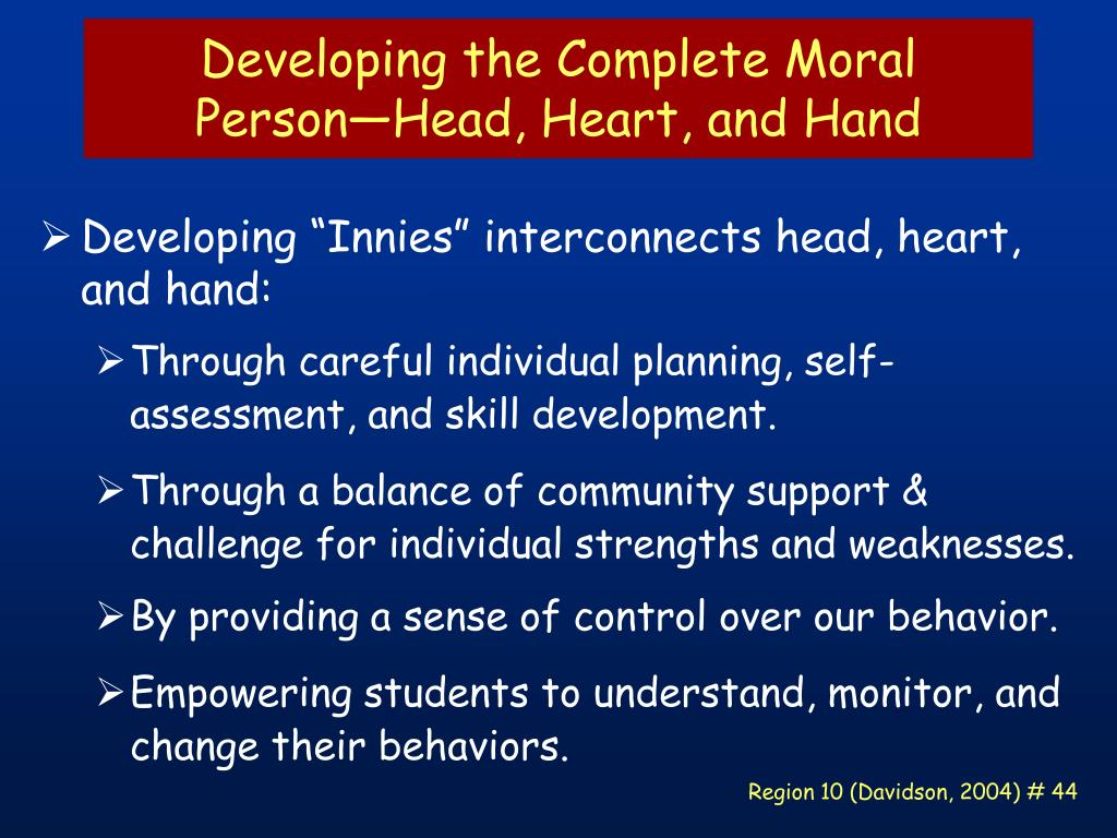 Developing the Complete Moral Person—Head, Heart, and Hand