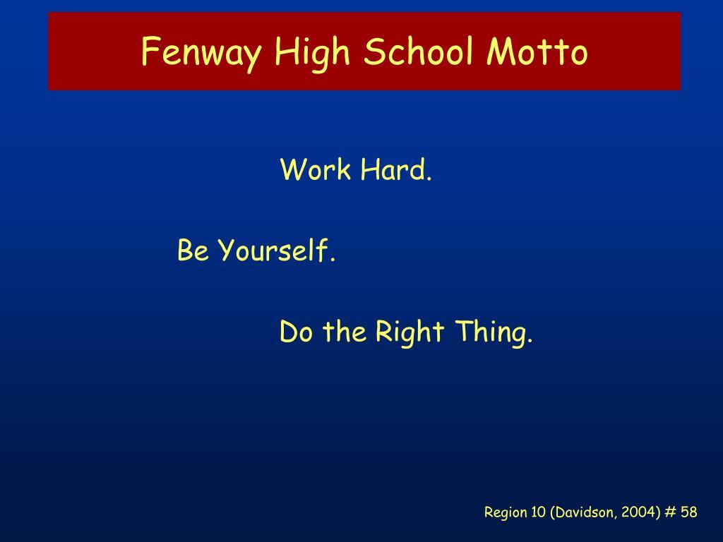 Fenway High School Motto