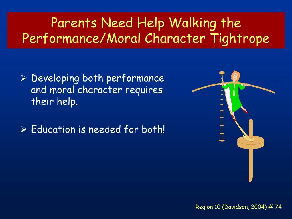 Parents Need Help Walking the Performance/Moral Character Tightrope