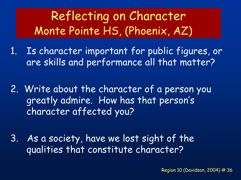 Reflecting on Character