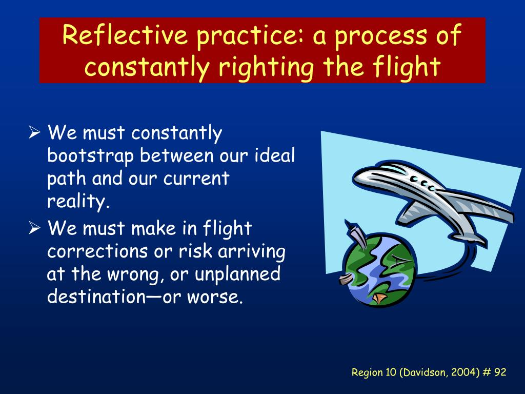 Reflective practice: a process of constantly righting the flight