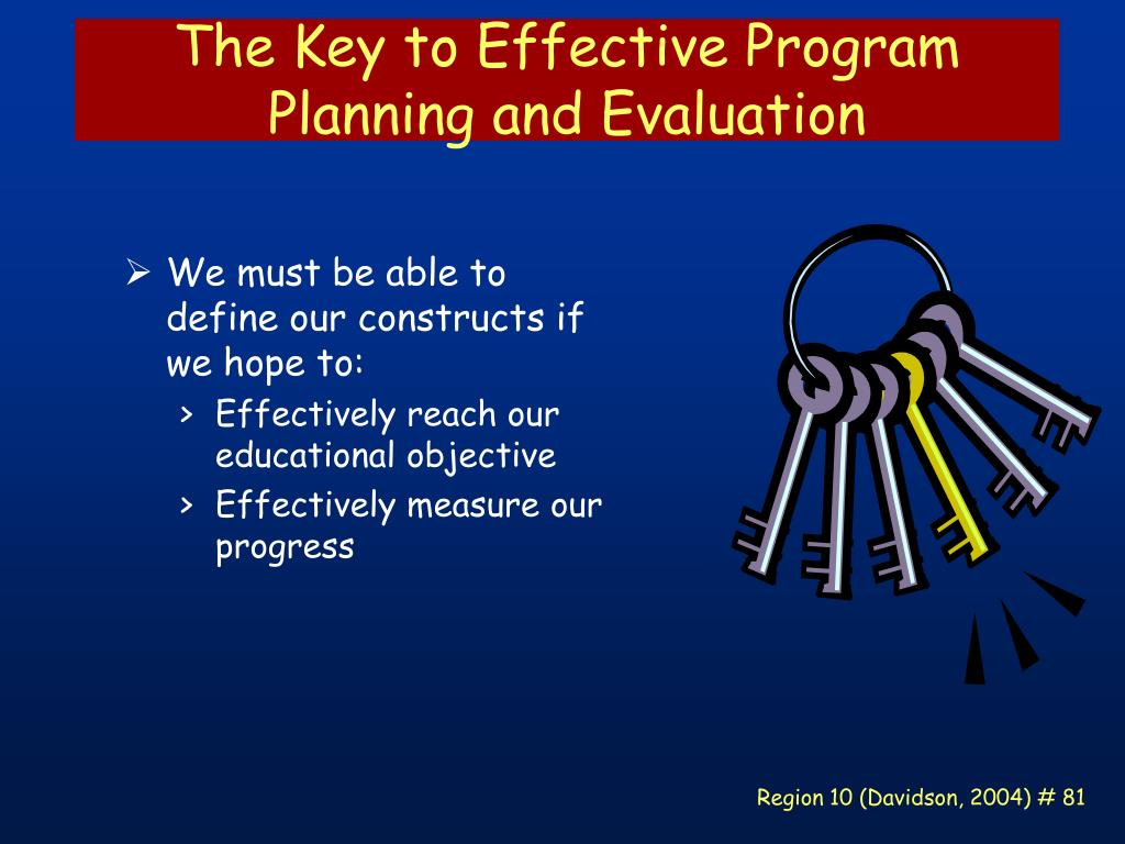The Key to Effective Program Planning and Evaluation