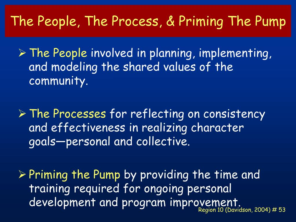 The People, The Process, & Priming The Pump