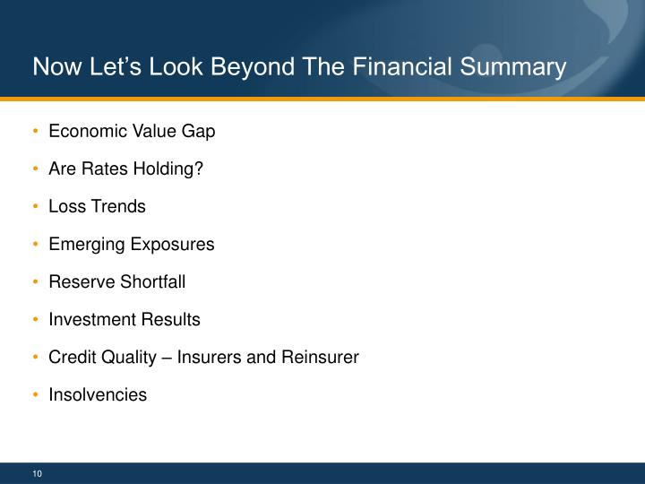 Now Let's Look Beyond The Financial Summary