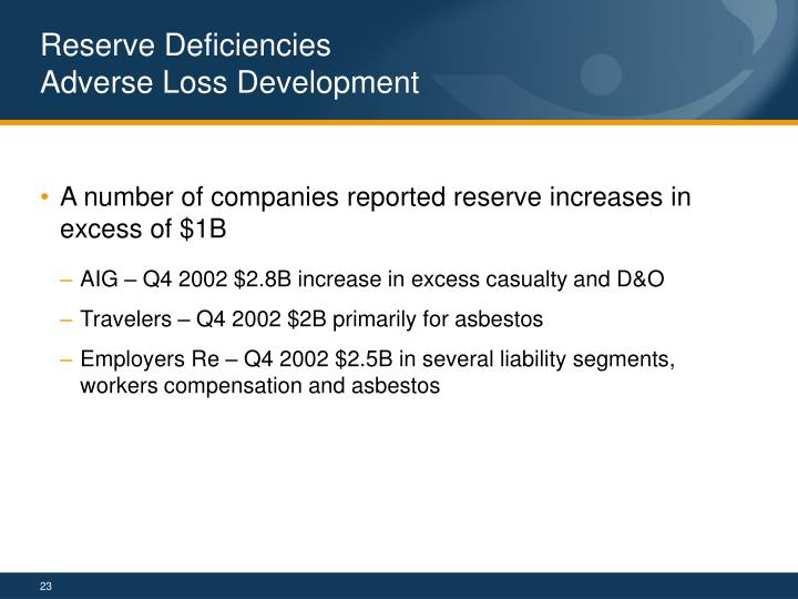 Reserve Deficiencies