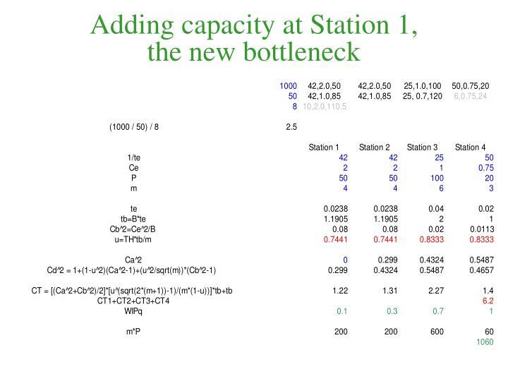 Adding capacity at Station 1,