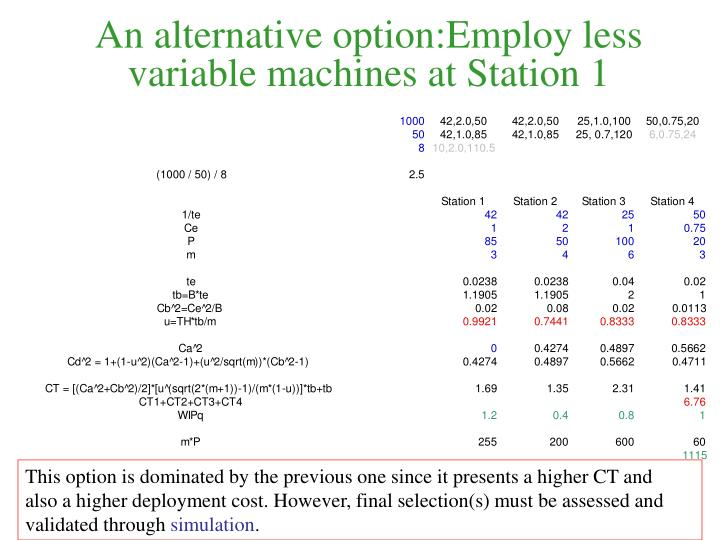 An alternative option:Employ less variable machines at Station 1