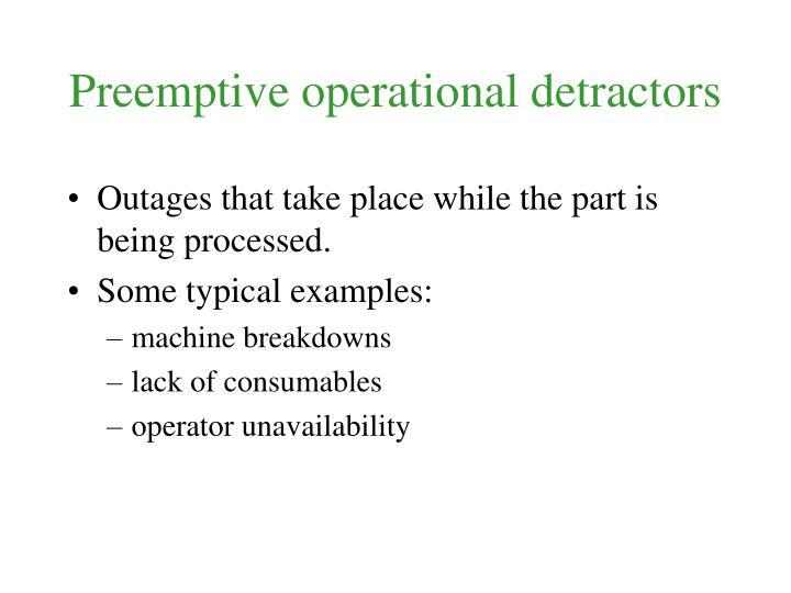 Preemptive operational detractors