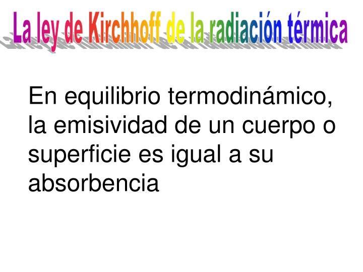 La ley de Kirchhoff de la radiación térmica