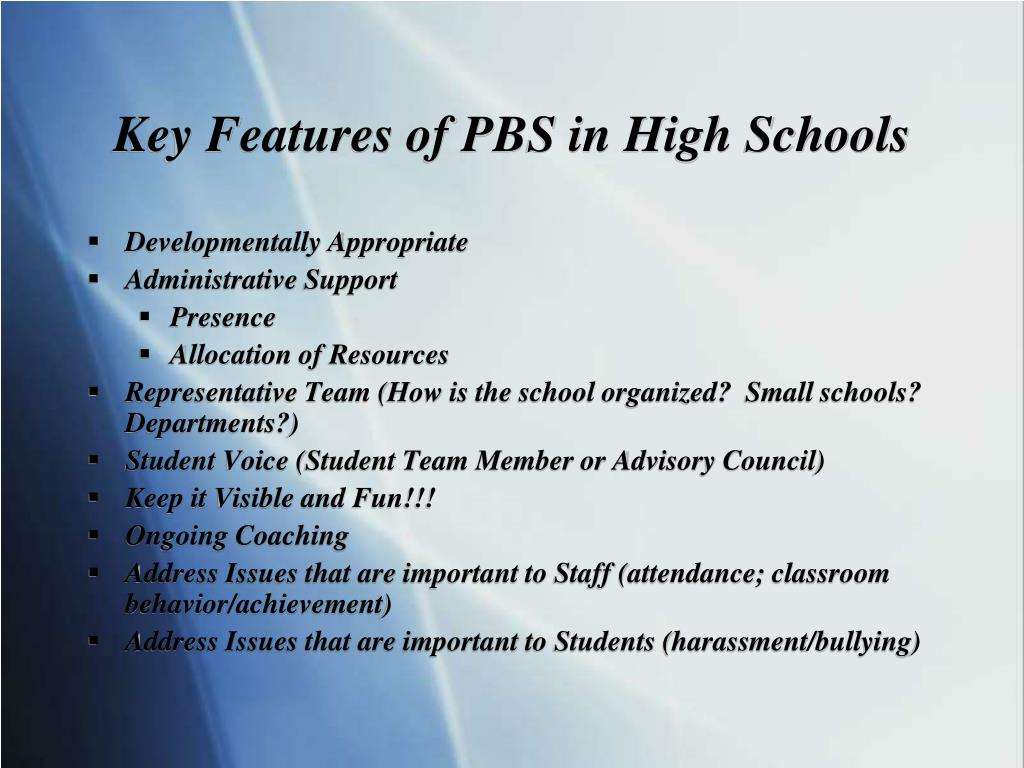 Key Features of PBS in High Schools