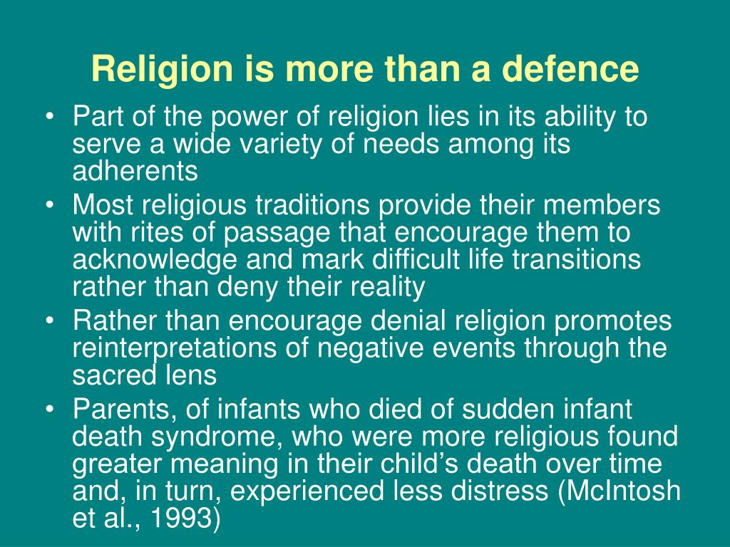Religion is more than a defence