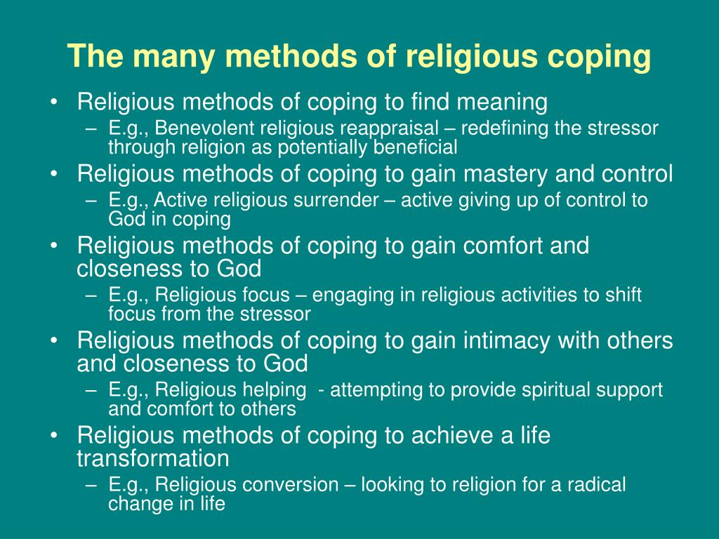 The many methods of religious coping