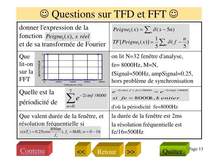  Questions sur TFD et FFT 